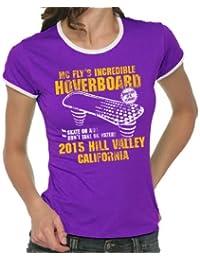 Hoverboard-saut dans le futur vintage girlie ringer t-shirt pour femme