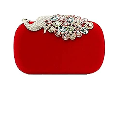 Somarke Women Rhinestone Peacock Velvet Party Clutch Evening Bags Colorful