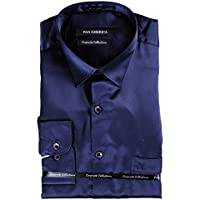 Pan America Men's Solid Slim Fit Casual Shirt (PA895_CW32_38_Navy Blue_38)