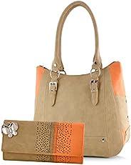 Butterflies Women's Handbag with Wallet Combo (BNS WB0252) (Set o