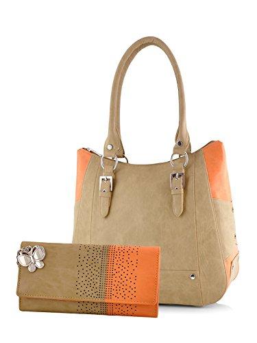 Butterflies Women\'s Combo of Handbag and Wallet(Beige and Orange)