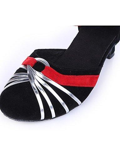 ShangYi Chaussures de danse ( Autre ) - Non Personnalisables - Talon Bottier - Tissu / Flocage -Ventre / Latine / Baskets de Danse / Moderne / black and sliver