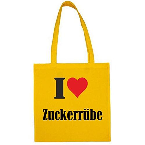 Tasche I Love Zuckerrübe Größe 38x42 Farbe Gelb Druck Schwarz