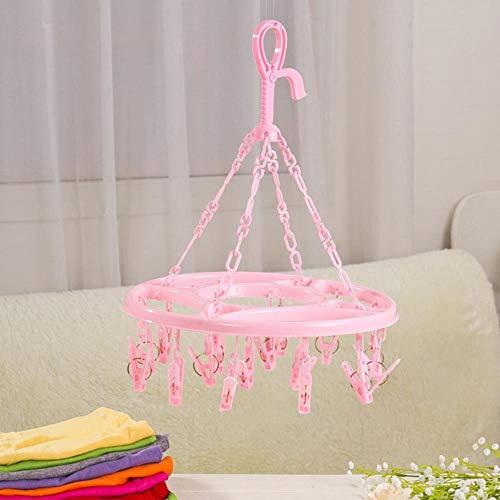 Rainandsnow Hängender Trockner hochwertige 18 Clips Wäsche Wäschetrockner Kleiderbügel Unterwäsche Kleiderbügel Socken runden Kunststoff Veranstalter,Pink