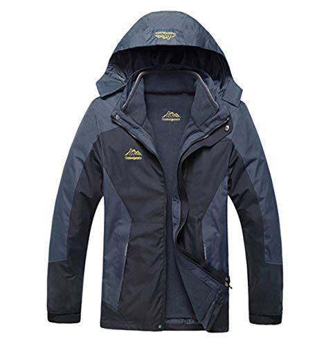 TH&Meoostny Outwear wasserdicht Winddicht atmungsaktiv warme Jacke Winter Herren Mantel Parka 2 in 1 Set Kleidung Black 7XL