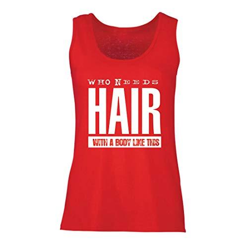 lepni.me Damen Tank-Top Wer braucht Haare mit einem Körper wie diesem Lustiges Geschenk für Glatze (Small Rot (Beste Original Paare Kostüme)