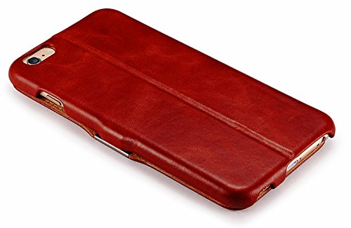 Luxus Tasche für Apple iPhone 6S Plus und iPhone 6 Plus (5.5 Zoll) / Case Außenseite aus Echt-Leder / Innenseite aus Textil / Schutz-Hülle seitlich aufklappbar / ultra-slim Cover / Hülle mit Standfunk Rot - vintage