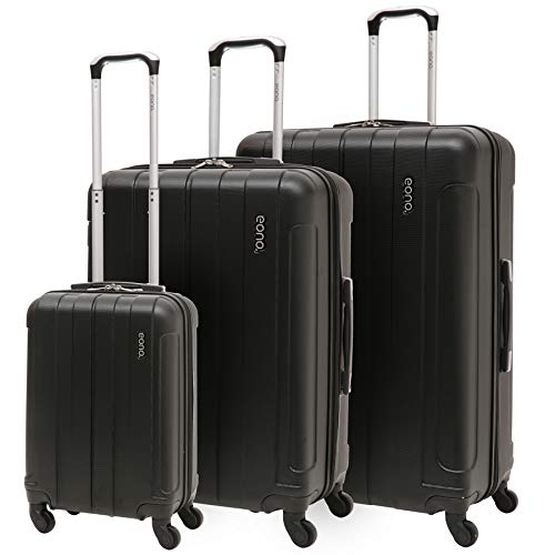 EONO Essentials - Set di 3 Trolley in ABS - Valigie rigide e leggere con 4 ruote - 55cm Bagaglio a mano + Bagaglio medio 71cm + bagaglio grande 81cm - Nero