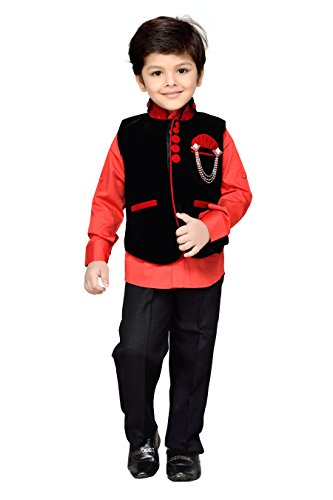 AJ Dezines kids party wear waistcoat suit set for boys (643_BLACK_9)