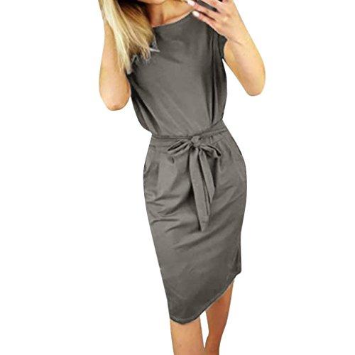 Kanpola Kleider Damen Sommerkleid Elegant Casual Kurzarm Sommer Strand Party Kleid Minikleid Taschen