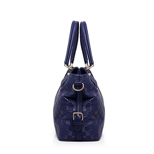 PDFGO Tote Bag Handtaschen Europa Und Die Vereinigten Staaten Mode Gitter Geprägt Tasche Schultertasche Handtasche Handtasche D
