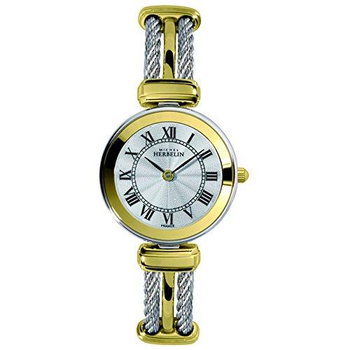 Michel Herbelin Unisex Erwachsene Analog Uhr mit Edelstahl Armband 17125/BT08