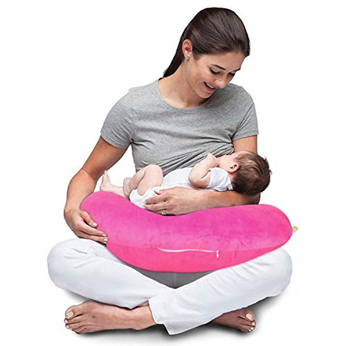 Baybee New Born Velvet Portable Breast Feeding Pillow   Infant Support for Baby and Mom   Best for Breastfeeding Moms - Pink