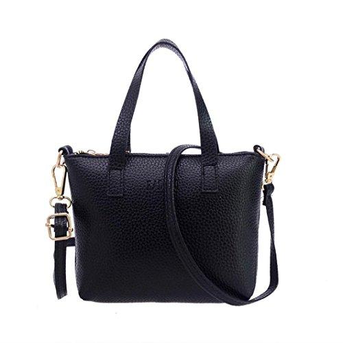 Internet Femmes Solide Sac à main de cuir PU sac à bandoulière 20cm*3.5cm*15cm (Noir)