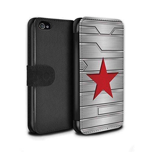 Stuff4® PU-Leder Hülle/Case/Tasche/Cover für Apple iPhone 4/4S / Winter Soldier Inspiriert Muster/Antiheld Comic-Kunst Kollektion (Marvel-comic-iphone Fälle 4)
