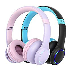Kinder Kopfhörer Bluetooth, CH9 kopfhörer Kinder, Faltbar, einstellbar, 85dB Lautstärke begrenzt, AUX 3,5 mm Klinke, eingebautes Mikrofon, LED-Licht, Zwei Packungen (blau + pink)