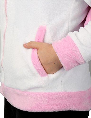 Einhorn Kostüm Jacke Kapuzenpullover Pyjama Sweatshirt Tieroutfit Hoodies Reißverschluss mit Kapuze Tier Cosplay Halloween - Très Chic Mailanda Pink 2