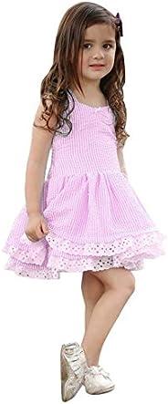 K-youth Vestido Niña, Lindo Rayas Vestido para Niñas Sin Mangas Casual Princesa Vestir Infantil de Fiesta Vera