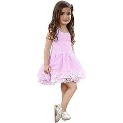 Sommerkleider Kinderbekleidung Party Kleid Babykleidung Prinzessin Kleid Junge Mädchen Kleinkind Sommer Sommer Prinzessin Drape Kleid Kurzarm T-Shirt Kleid Tutu Kleider LMMVP (Rosa 01, 80(12M))