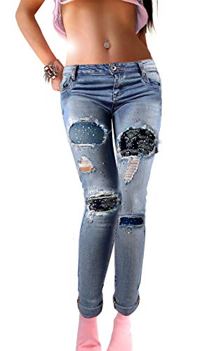 if she Damen Denim Jeans-Hose Super Stretch mit Ornament-Flicken Distressed blau verwaschen Used Effekt extrem zerfranst Strass Steine, Größe:XS -