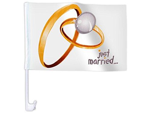 Bandierina per la macchina ,,Just Married' con motivi diversi matrimonio bandiera decorazione macchina auto romantico amore nozze sintetico festa eventi spettacolo , JustMarried AutoAFL-10:AFL-10A Just Married anelli