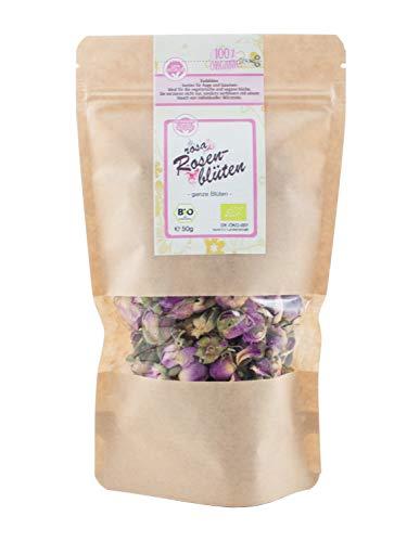 direct&friendly Bio Rosenblüten getrocknet Tee und Essblüten im Nachfüllpack (50 g) - Getrocknete Rosa Rosenblätter