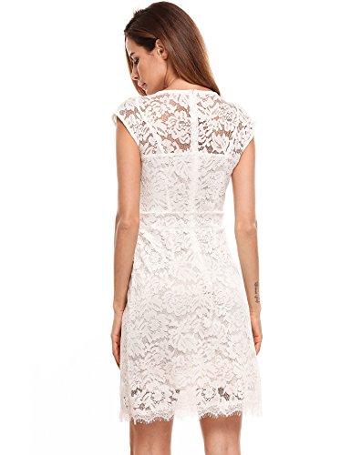 Meaneor Damen Elegantes Spitzen Kleid Mini Sommerkleider Etuikleid ...