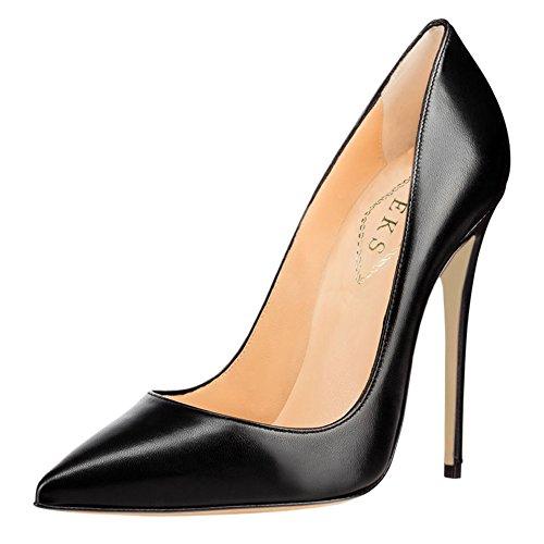 EKS, Pumps, High Heels, Damen, Sexy, Spitze, Zehen, Kleid, Party, Schwarz - Black-matte - Größe: ()