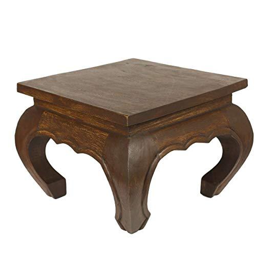 Asiatische Wohnzimmer Beistelltisch (Oriental Galerie Opiumtisch Dunkelbraun - 35cm Beistelltisch Tischchen Hocker Blumenhocker Akazienholz asiatischer kleiner Tisch)