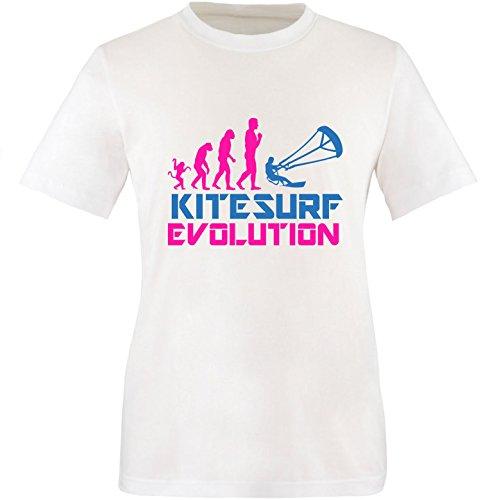 EZYshirt® Kitesurf Evolution Herren Rundhals T-Shirt Weiss/Pink/Blau