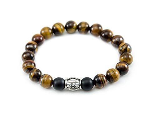 Männer Herren-Armband aus Halbedlstein Tigerauge Onyx Edelstahl Gelb Silber Ring Element 10mm Herren und Damen Schmuck (Achat-stein Männer-ringe)