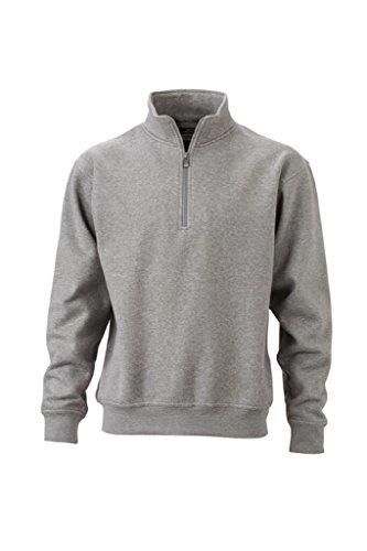 JAMES & NICHOLSON Sweatshirt mit Stehkragen und Reißverschluss grey-heather