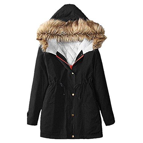 Cappotto Donna, Reasoncool Delle donne del rivestimento di modo con cappuccio Inverno Parka Cappotti superiore del cotone signore Outwear (XXL(44), Nero)