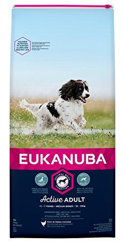 Eukanuba Adult Trockenfutter für mittlere Hunde mit frischem Huhn, 15kg