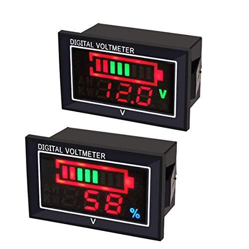 2pcs Display Digitale voltmetro CC amperometro Indicatore della capacità dell'acido della,DC6-80V Misuratore di Tensione a LED Impermeabile,0.56 polliciprotezione Contro l'inversione di polarità