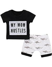 PAOLIAN Conjuntos de bebé Niños Ropa para Recién Nacidos Verano Camisetas +  Pantalones Cortos Impresion Tiburón b608f2ac8d06