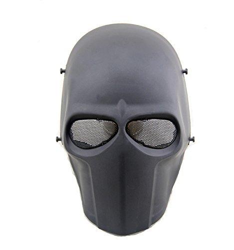 (Worldshopping4U–Ganzgesichts-Schutzmaske für Airsoft, Paintball, Cosplay, Hockey, Halloween, als Kostüm, Schwarz/lächelnd/Kreuz/Totenkopf, schwarz)