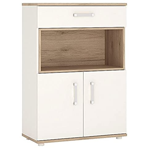 Furniture To Go 4Kids 2 Door and 1 Drawer cupboard with Open Shelf, Wood, White Gloss/Light Oak