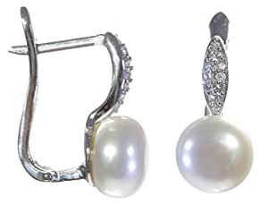 Boucles d'Oreilles Femme Argent fin 925 avec Oxyde de Zirconium, Perle de Chine - 20mm*10mm, 6 Grammes
