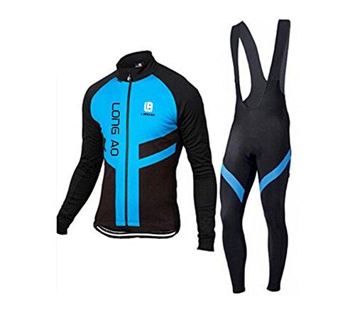 SUE Traje de Ciclista de los Hombres Traje de Ciclismo de Bicicleta de  Manga Larga Ciclismo Jersey + Ciclismo Pantalones Largos 7aa2649cb96f6