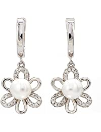 Ornate Jewels - 925 Pure Silver Real Pearl Flower On A Hoops Danglers Earrings for women - 845