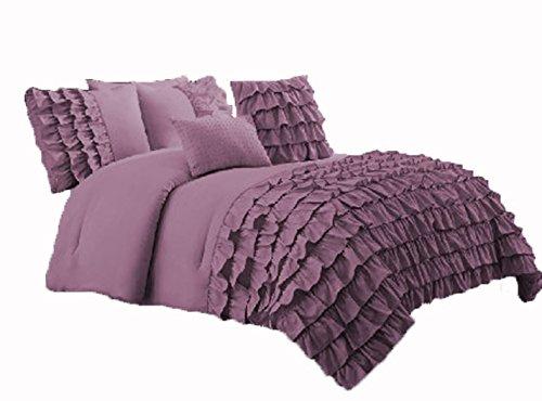 scalabedding Wasserfall volants-housse Bettbezug und Kissenbezug Schams-5-teilig-600Fäden/cm², aus ägyptischer Baumwolle Lavendel -