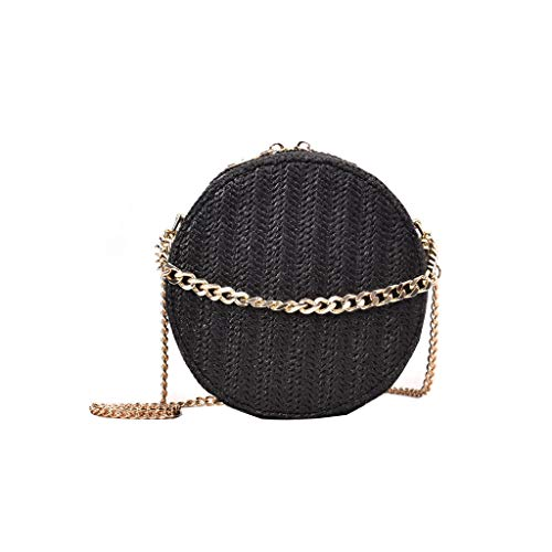 XZDCDJ Runde Stroh Strandtasche Damen UmhängeTaschen Mode Frauen Tasche quaste weben Tasche Damen umhängetasche Stroh Tasche Casual Handtasche Schwarz -