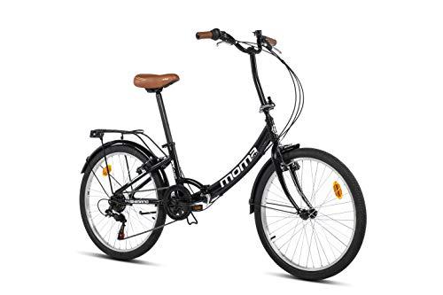 Moma Bikes Bicicleta Plegable Urbana SHIMANO TOP CLASS 24' Alu, 6V. Sillin Confort, Blanco