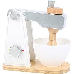 Small Foot 10595 Batteur en bois, accessoires pour la cuisine des enfants, avec partie supérieure mobile et bol agitateur, à partir de 3 ans
