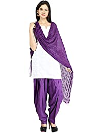 Funfabrics Women Cotton Solid Full Free Size Purple Plain Patiala Salwar Dupatta Set Cotton Patiala Dupatta