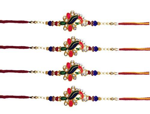 Rakhi-Set, Set für Bhaiya, Bhabhi beim indischen Rakhi-Rakshabandhan-Fest, Rakhi-Ketten, Rakhi-Armbänder, für den Bruder, tolles Geschenk, 4-teiliges Set
