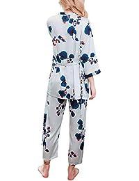 20fb47f8134e9 YAOMEI Femme de Pyjamas Satin, 2019 3 Pcs des Couples Chemises de Nuit  Femmes Ensemble