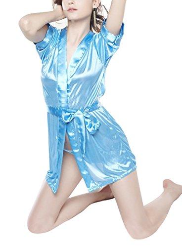 Shangrui Lingerie Femminile Pizzo Scollato Raso di Seta di Ghiaccio Con il Cinturino Babydoll Erotico Una Dimensione Multicolore Blu