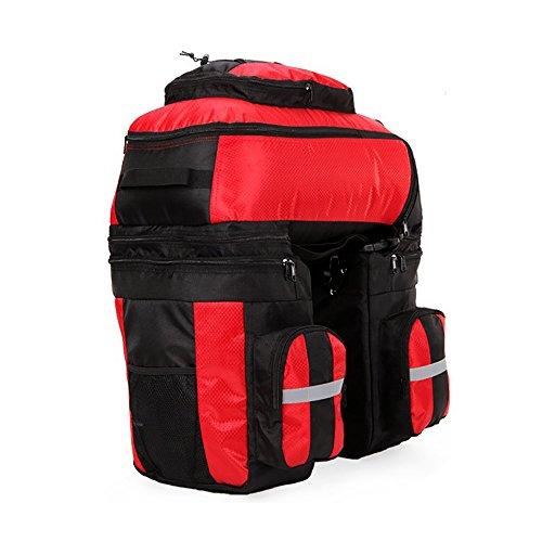 vitalite-cycle Fahrrad Tasche Bike Double Side Packtaschen hinten Rack Schwanz Sitz Trunk Bag Rot
